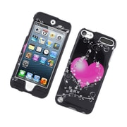 Insten Flowery Heart Hard Case For Apple iPod Touch 5th Gen - Black/Hot Pink