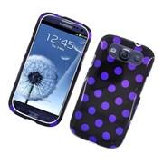 Insten Polka Dots Hard Plastic Case For Samsung Galaxy S3 - Black/Purple