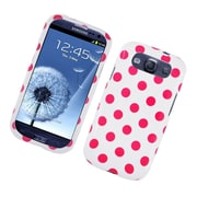 Insten Polka Dots Hard Plastic Case For Samsung Galaxy S3 - White/Pink