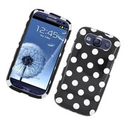 Insten Polka Dots Hard Plastic Case For Samsung Galaxy S3 - Black/White
