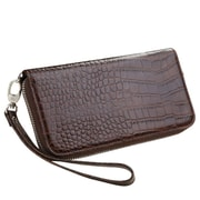 Insten Brown Crocodile Embossed GENUINE Leather Wallet Case (phone pocket size: 6.3 x 3.2 x 0.5 inch)
