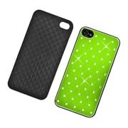Insten Hard Rubber Chrome Cover Case with Diamond for iPhone 4 4S - Green