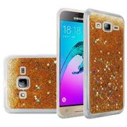 Insten Liquid Quicksand Glitter Fused Flexible Hybrid Case For Samsung Galaxy Amp Prime / J3 (2016) / Sol - Gold