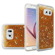 Insten Liquid Quicksand Glitter Fused Flexible Hybrid TPU Cover Case For Samsung Galaxy S6 - Gold