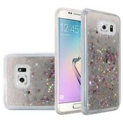 Insten Liquid Quicksand Glitter Fused Flexible Hybrid TPU Cover Case For Samsung Galaxy S6 Edge - Silver