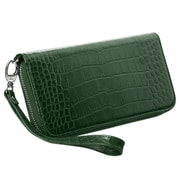 Insten Green Crocodile Embossed GENUINE Leather Wallet Case (phone pocket size: 6.3 x 3.2 x 0.5 inch)