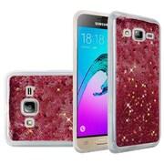 Insten Liquid Quicksand Glitter Fused Flexible Hybrid Case For Samsung Galaxy Amp Prime / J3 (2016) / Sol - Hot Pink