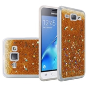 Insten Liquid Quicksand Glitter Fused Flexible Hybrid Case For Samsung Galaxy Amp 2 / Express 3 / J1 (2016) - Gold