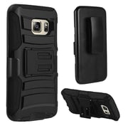 Insten Hard Hybrid Plastic Silicone Cover Case w/Holster For Samsung Galaxy S7 - Black