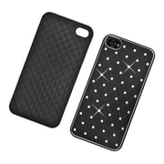 Insten Hard Chrome Cover Case with Diamond for iPhone 4 4S - Black