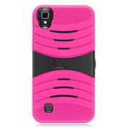 Insten Wave Symbiosis Gel Rubber Hard Case with stand for LG X Power - Hot Pink/Black