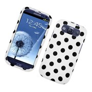 Insten Polka Dots Hard Plastic Case For Samsung Galaxy S3 - White/Black