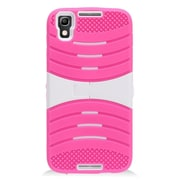Insten Wave Symbiosis Soft Rubber Hard Case with stand for Alcatel Idol 4 - Hot Pink/White