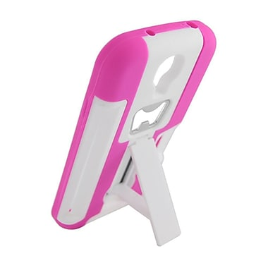 Insten Hard Hybrid Dual Layer Silicone Cover Case Stand for Samsung Galaxy S4 - White/Hot Pink