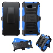 Insten Hard Dual Layer Plastic Silicone Case w/Holster For Kyocera Hydro Wave - Black/Blue