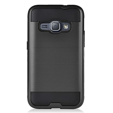 Insten Hybrid Dual Layer Brushed Metal Hard TPU Shockproof Case For Samsung Galaxy Amp 2 / Express 3 / J1 (2016) - Black