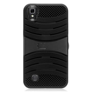 Insten Wave Symbiosis Rubber Hard Cover Case with stand for LG X Power - Black