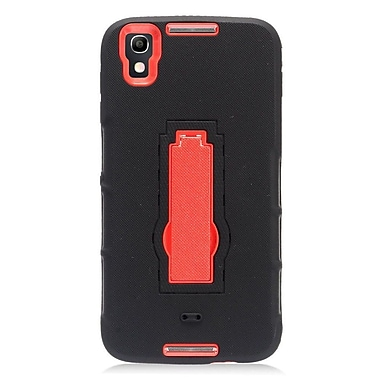 Insten Soft Rubber Hard Case with stand for Alcatel Idol 4 - Black/Red