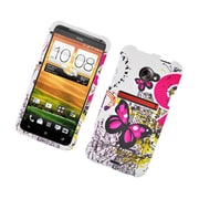 Insten Butterfly Hard Rubberized Cover Case For HTC EVO 4G LTE - White/Pink