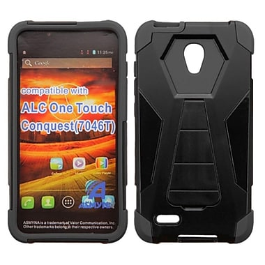 Insten Hard Dual Layer Plastic Silicone Case w/stand For Alcatel One Touch Conquest - Black