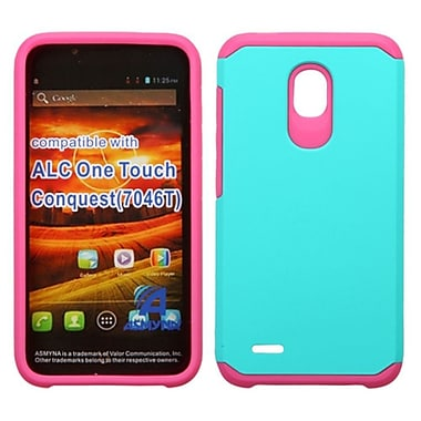 Insten Hard Dual Layer Rubberized Silicone Case For Alcatel One Touch Conquest - Teal/Hot Pink
