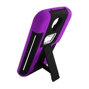 Insten Hard Hybrid Dual Layer Rubber Silicone Case Stand for Samsung Galaxy S4 - Black/Purple