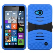Insten Wave Symbiosis Rubber Hybrid Hard Cover Case with Stand For Microsoft Lumia 640(ATT)/640(Circket) - Blue/Black