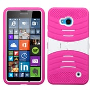 Insten Wave Symbiosis Rubber Hybrid Hard Case with Stand For Microsoft Lumia 640(ATT)/640(Circket) - Hot Pink/White