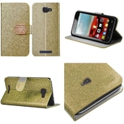 Insten Flip Leather Glitter Case w/stand/Diamond For Alcatel One Touch Fierce 2 7040T - Gold