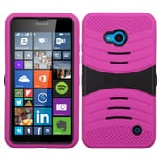 Insten Wave Symbiosis Soft Hybrid Rubber Hard Case with Stand For Microsoft Lumia 640(ATT)/640(Circket) - Hot Pink/Black