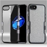 Insten Metallic Full Glitter TUFF Panoview Hybrid Hard/TPU Case Cover For Apple iPhone 7 - Black/Clear Silver
