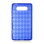 Insten Checker TPU Transparent Cover Case For Nokia Lumia 820 - Blue