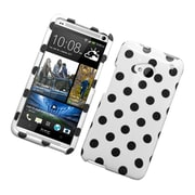 Insten Polka Dots Hard Plastic Cover Case For HTC One M7 - White/Black
