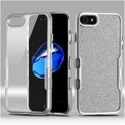 Insten Metallic Full Glitter TUFF Panoview Hybrid Hard/TPU Case Cover For Apple iPhone 7 - Silver/Clear Silver