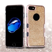 Insten Metallic Full Glitter TUFF Panoview Hybrid Hard/TPU Case Cover For Apple iPhone 7 - Rose Gold/Clear Gold