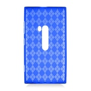 Insten Checker Rubber Clear Cover Case For Nokia Lumia 920 - Blue