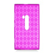 Insten Checker Rubber Transparent Cover Case For Nokia Lumia 920 - Hot Pink