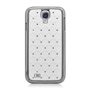 Insten Hard Chrome Case with Diamond For Samsung Galaxy S4 - White