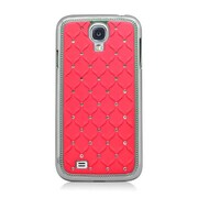 Insten Hard Rubber Chrome Case with Diamond For Samsung Galaxy S4 - Red