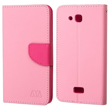 Insten Flip Leather Fabric Case w/stand/card slot For Kyocera Hydro Wave - Pink/Hot Pink