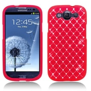 Insten Hard Rubber Coated Case with Diamond For Samsung Galaxy S3 - Red