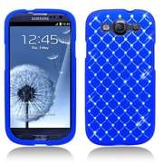 Insten Hard Rubber Coated Case with Diamond For Samsung Galaxy S3 - Blue
