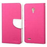 Insten Book-Style Leather Fabric Case w/stand/card holder For Alcatel One Touch Conquest - Hot Pink/White