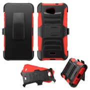 Insten Hard Hybrid Rugged Shockproof Plastic Silicone Case w/Holster For Kyocera Hydro Wave - Black/Red