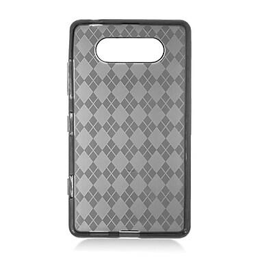Insten Checker Rubber Clear Case For Nokia Lumia 820 - Smoke