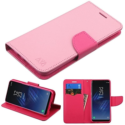 Insten Liner MyJacket Leather Wallet Credit Card Stand Flip Case Cover For Samsung Galaxy S8 - Pink/Hot Pink