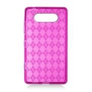 Insten Checker TPU Transparent Case For Nokia Lumia 820 - Hot Pink