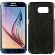 Insten Chrome Leather Texture Hard Clip On Back Rear Cover Case For Samsung Galaxy S6 - Black