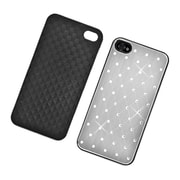 Insten Hard Rubber Coated Chrome Case with Diamond for iPhone 4 4S - Silver
