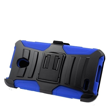 Insten Hard Hybrid Plastic Silicone Stand Case with Holster For Alcatel One Touch Conquest - Black/Blue